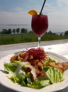 Sangria Cocktails and Caesar Salad
